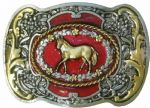 Western Horse Gold and Sliver Plated Belt Buckle. Code FJ3